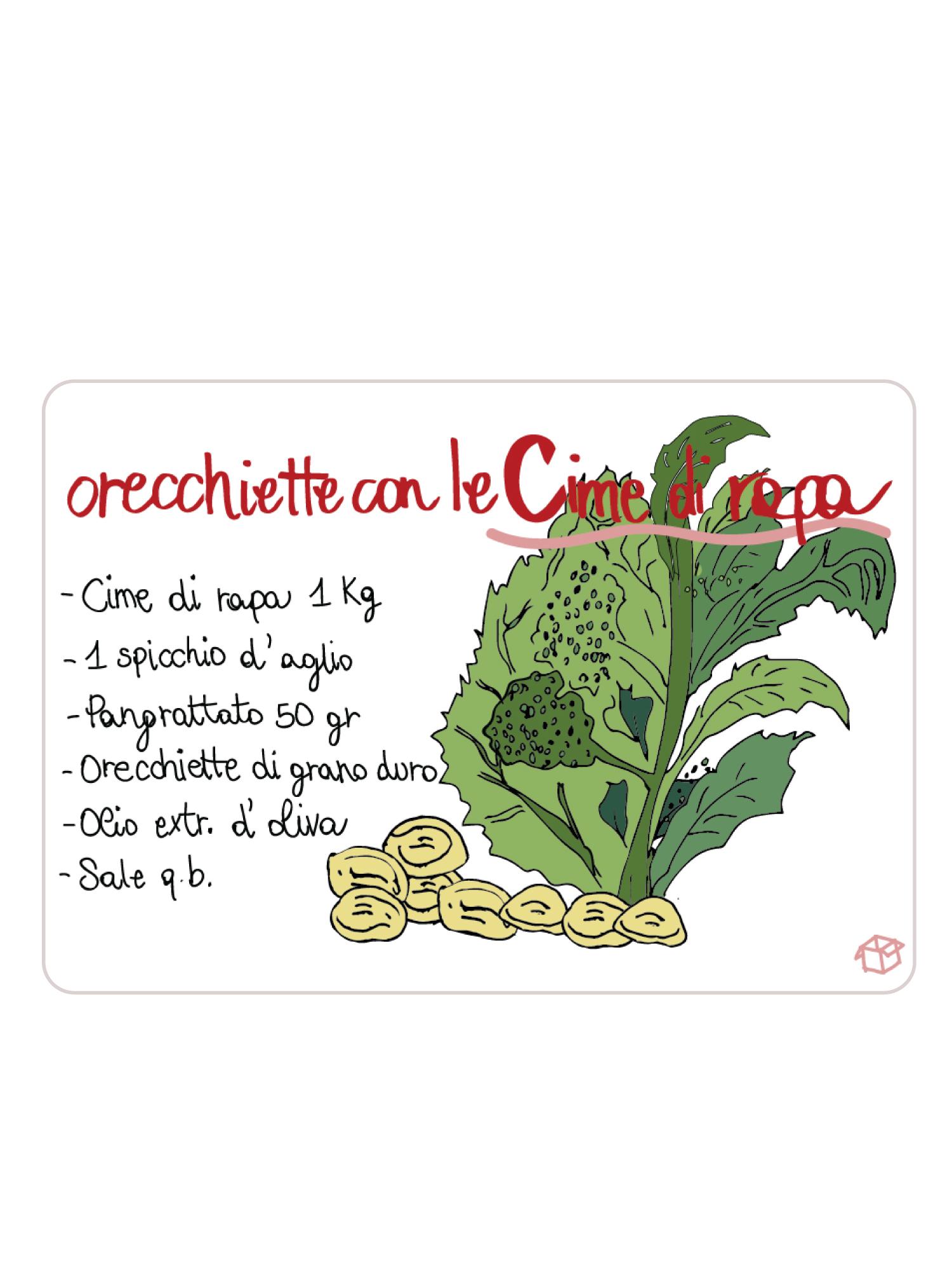 Calamita Puglia frigo Orecchiette rapa